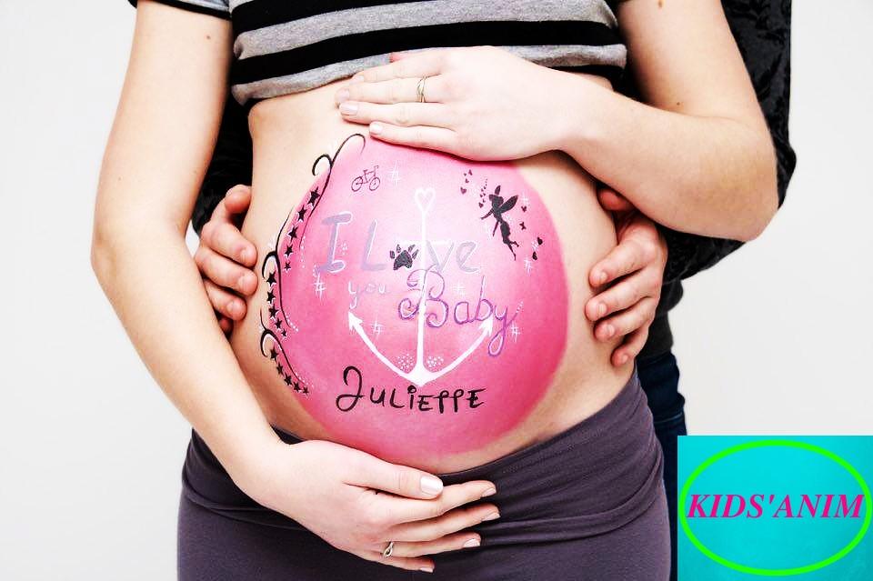 Belly painting -maquillage de grossesse-maquillage femme enceinte par kids'anim -baby shower