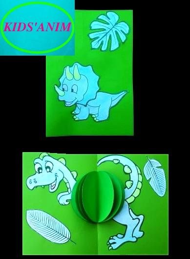 carte pop up dinosaure